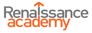 Renaissance Academy Logo with orange and grey and arrow